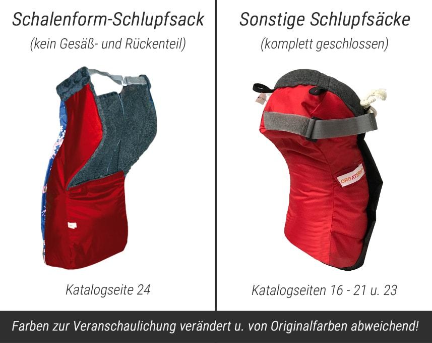Vergleichsbild Schalenform-Schlupfsack und Standard-Schlupfsäcke
