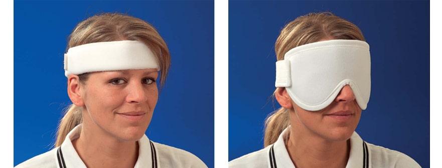 Stirnbandage und Gesichts-/Hals-/Augenbandage